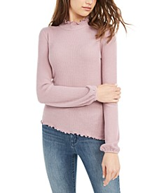 Juniors' Lettuce-Edged Mock Turtleneck Top, Created For Macy's