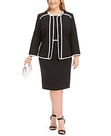 Plus Size Piped Sheath Dress & Jacket