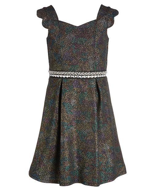 Monteau Big Girls Embellished Metallic Dress