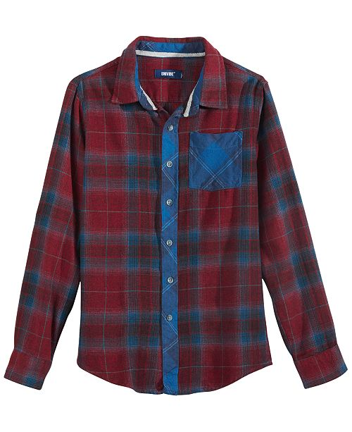 Univibe Big Boys Gustav Colorblocked Mix-Plaid Flannel Shirt