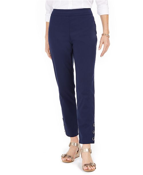 JM Collection Petite Tummy-Control Snap-Hem Pants, Created For Macy's