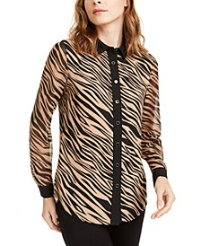 Button-Up Zebra Print Shirt