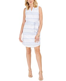 Petite Cotton Tie-Waist Striped Dress, Created For Macy's