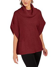 Anne Klein Cowl-Neck Mixed-Stitch Poncho Sweater