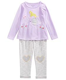 Baby Girls Elephant Love Long Sleeve T-Shirt & Heart Trim Jogger Pants, Created For Macy's