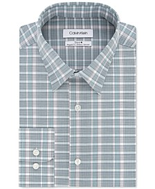 Calvin Klein Men's Steel Classic/Regular-Fit Non-Iron Performance Stretch Green Check Dress Shirt