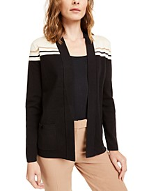 Colorblocked Metallic-Stripe Cardigan
