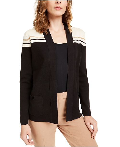 Anne Klein Colorblocked Metallic-Stripe Cardigan