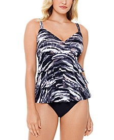 Coastal Plates Printed Tiered Tummy Control One-Piece Swimsuit, Created For Macy's