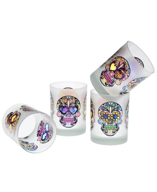 Culver Sugar Skull DOF Glass 14-Ounce Set of 4
