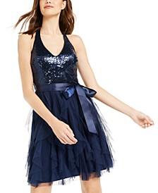 Juniors' Sequin-Top Ruffled Dress