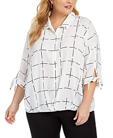 Plus Size Grid-Print Blouson Shirt, Created For Macy's