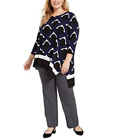 Plus Size Printed High-Low Top, Created for Macy's