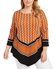 Plus Size Printed V-Hem Top, Created For Macy's