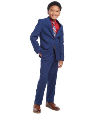 Big Boys 2-Pc. THFlex Stretch Poplin Shirt & Stripe Tie Set