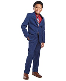Big Boys 2-Pc. THFlex Stretch Poplin Shirt & Stripe Tie Set, Stretch Plaid Suit Jacket & Stretch Plaid Suit Pants