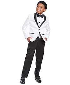 Big Boys 2-Pc. Slim-Fit Pintucked Tuxedo Shirt & Bow Tie Set, Slim-Fit White Tuxedo Jacket, Classic-Fit White Sateen Vest & Slim-Fit Stretch Satin Dress Pants