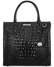 Black Melbourne Embossed Leather Caroline Satchel