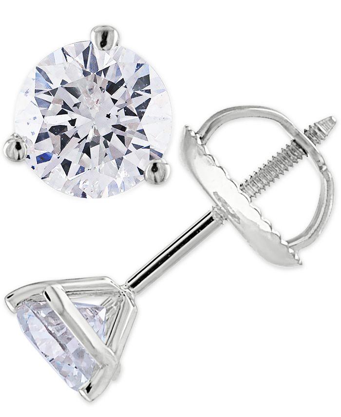 Macy's - Certified 2 ct. t.w. Diamond Stud Earrings in 14k White or Yellow Gold