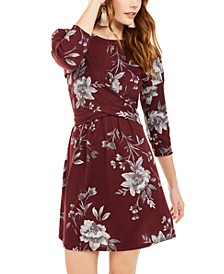 Juniors' Floral-Print Twist-Front Dress