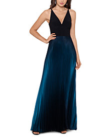 Betsy & Adam Ombré Pleated Gown