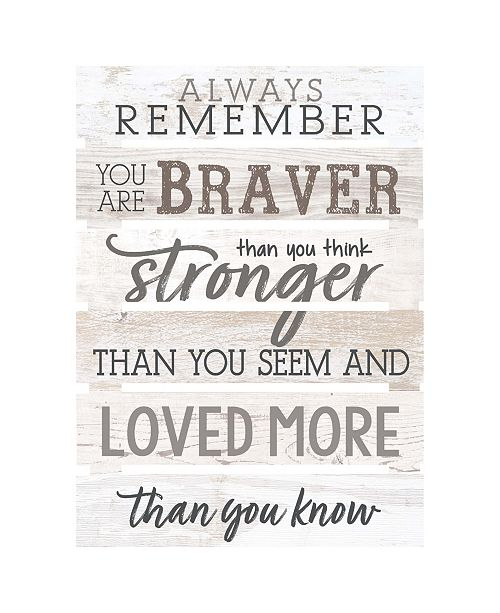 P Graham Dunn Always Remember You Are Braver Than You Think Stronger Than You Seem And Love More Than You Know Wall Art