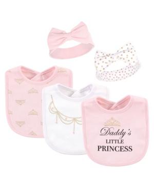 Little Treasure Babies' 5-piece Bib And Headband Set In Pink