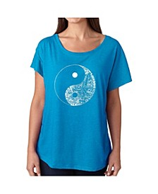 Women's Dolman Cut Word Art Shirt - Yin Yang