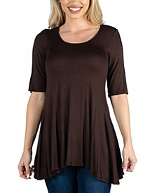 Elbow Sleeve Swing Tunic Top For Women