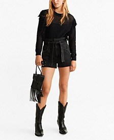 Fringed Detail Openwork Sweater