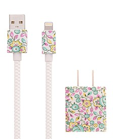 LAURA ASHLEY Floral Wall Charger Box & 3FT Apple MFI Certified Lightning Cable