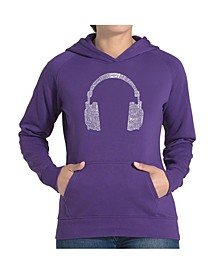 Women's Word Art Hooded Sweatshirt -63 Different Genres Of Music