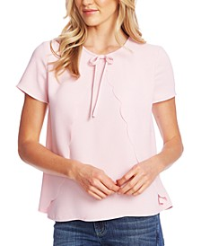 Scalloped Moss Crepe Top