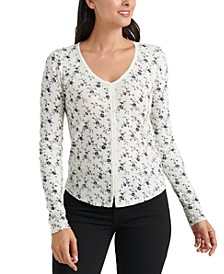 Floral-Print Thermal Top