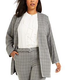 Plus Size Windowpane Topper Jacket