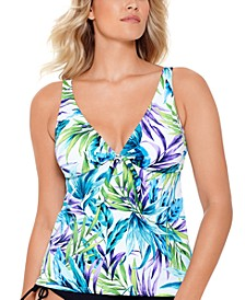 Blue Palms Printed V-Neck Tankini, Created For Macy's