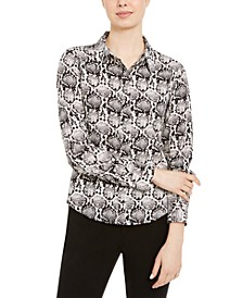 Petite Button-Up Snakeskin Print Shirt