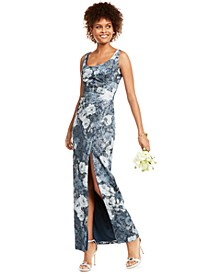 Metallic Floral-Print Gown