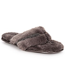 INC Women's Faux-Fur Crossband Slippers, Created For Macy's