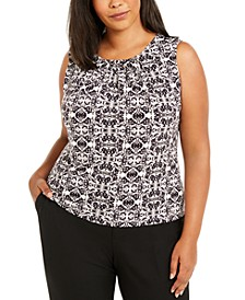 Plus Size Sleeveless Printed Pleat-Neck Top