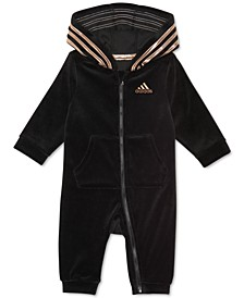 Baby Girls Velour Hooded Coverall