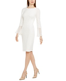 Chiffon-Bell-Sleeve Sheath Dress, Petite & Regular