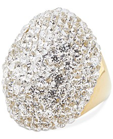 Gold-Tone Pavé Stone Statement Ring