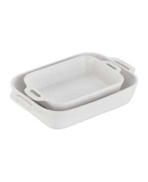 Staub Ceramic Rectangular Baking Dish 2-piece Set In Matte White