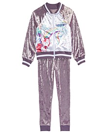 Little Girls 2-Pc. Velvet Track Jacket & Jogger Pants Set