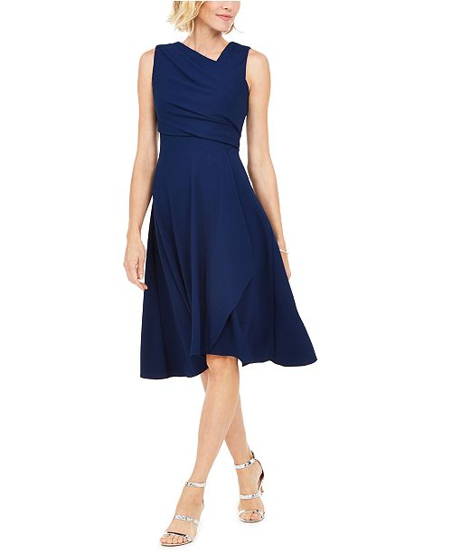Adrianna Papell Asymmetrical Draped Dress