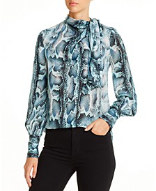 Chantal Silk Mock-Neck Top