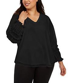Plus Size Smocked-Sleeve Top