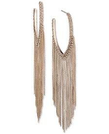"""Extra Large Gold-Tone Crystal Chain Fringe Hoop Earrings 4.3"""""""
