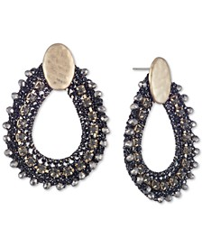 Gold-Tone Crystal & Bead Thread-Wrapped Open Drop Earrings